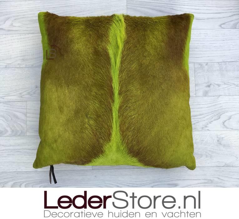 Springbok kussen limoen groen geverfd 45x45cm