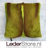springbok pillow lime green dyed 45x45cm