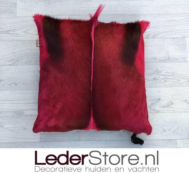 Springbok kussen roze geverfd 45x45cm