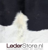 Cowhide rug black cream 245x215cm