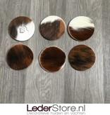 Koeienhuid onderzetters normandier bruin zwart wit 10x10cm