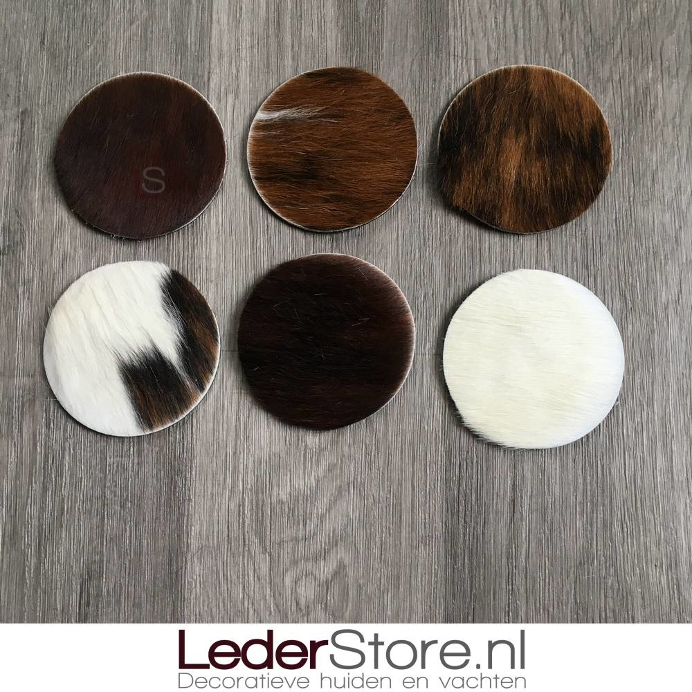 Cowhide coasters normandier brown black white 10x10cm