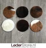 Cowhide coasters normandier brown black white 10x10cm