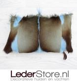 Springbokhuid kussen licht blauw geverfd 45x30cm