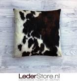 Koeienhuid kussen bruin zwart wit normandier 50x50cm