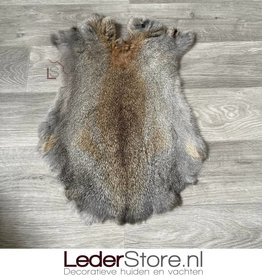 Rabbit skin grey brown 55x35cm