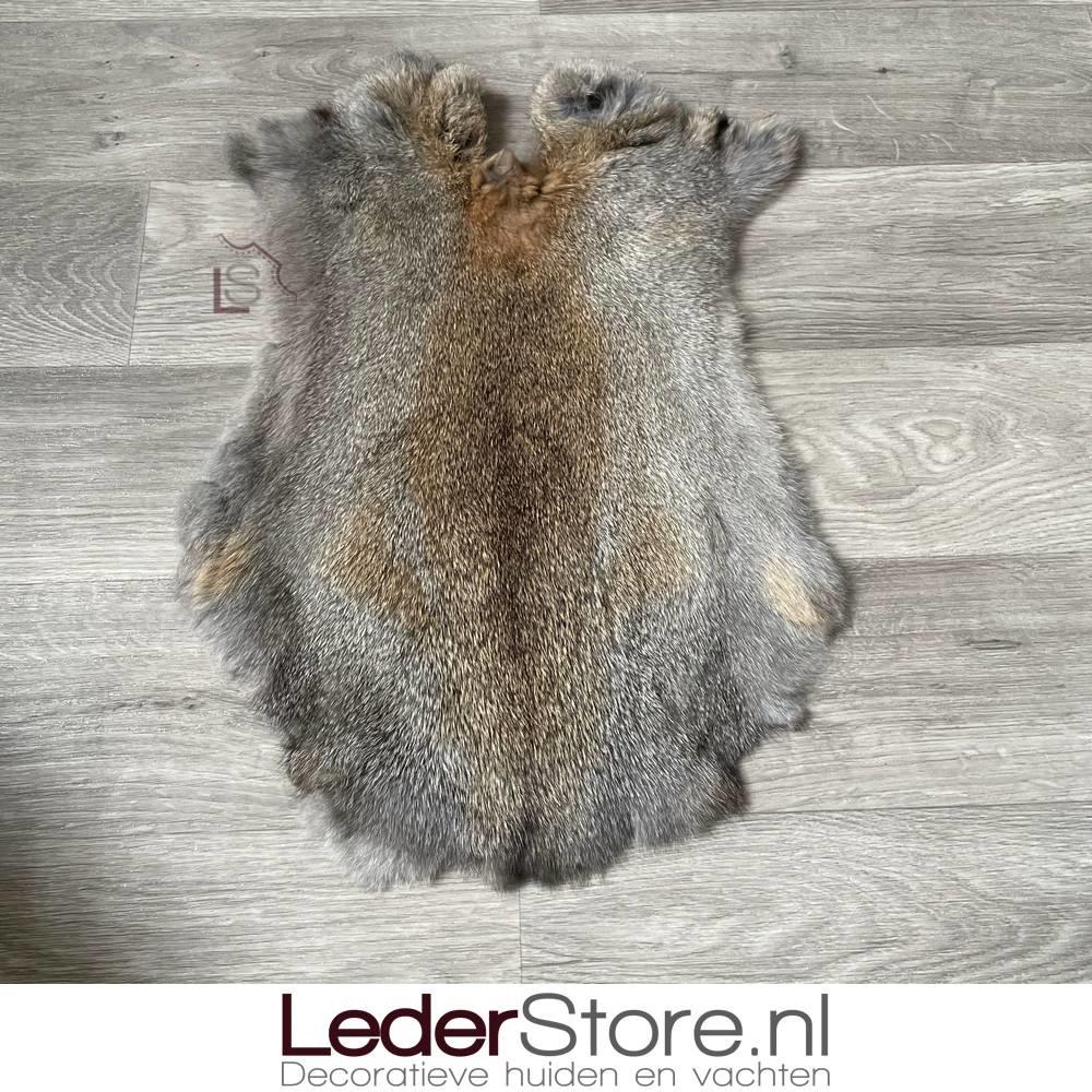 Konijnenvacht grijs bruin 55x35cm