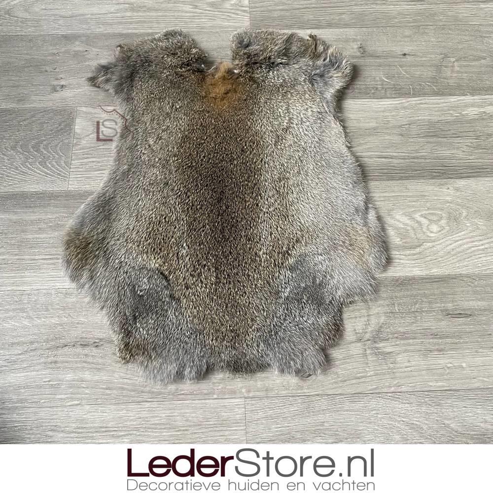 Rabbit skin grey brown 50x40cm
