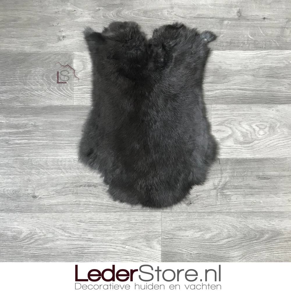 Konijnenvacht zwart 50x35cm