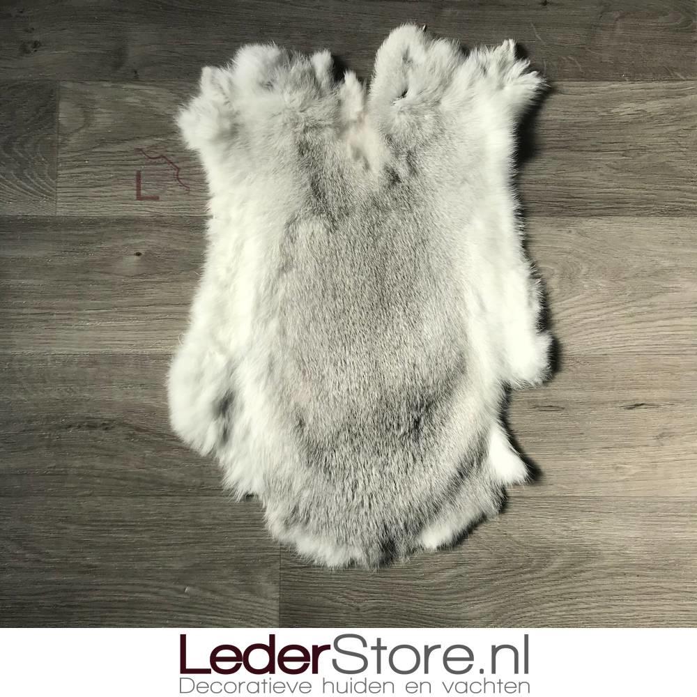 Konijnenvacht grijs wit 55x35cm