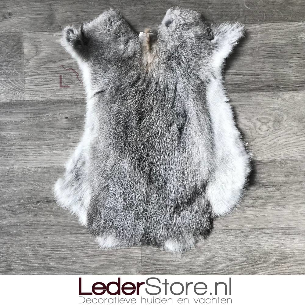 Rabbit skin grey white 50x40cm