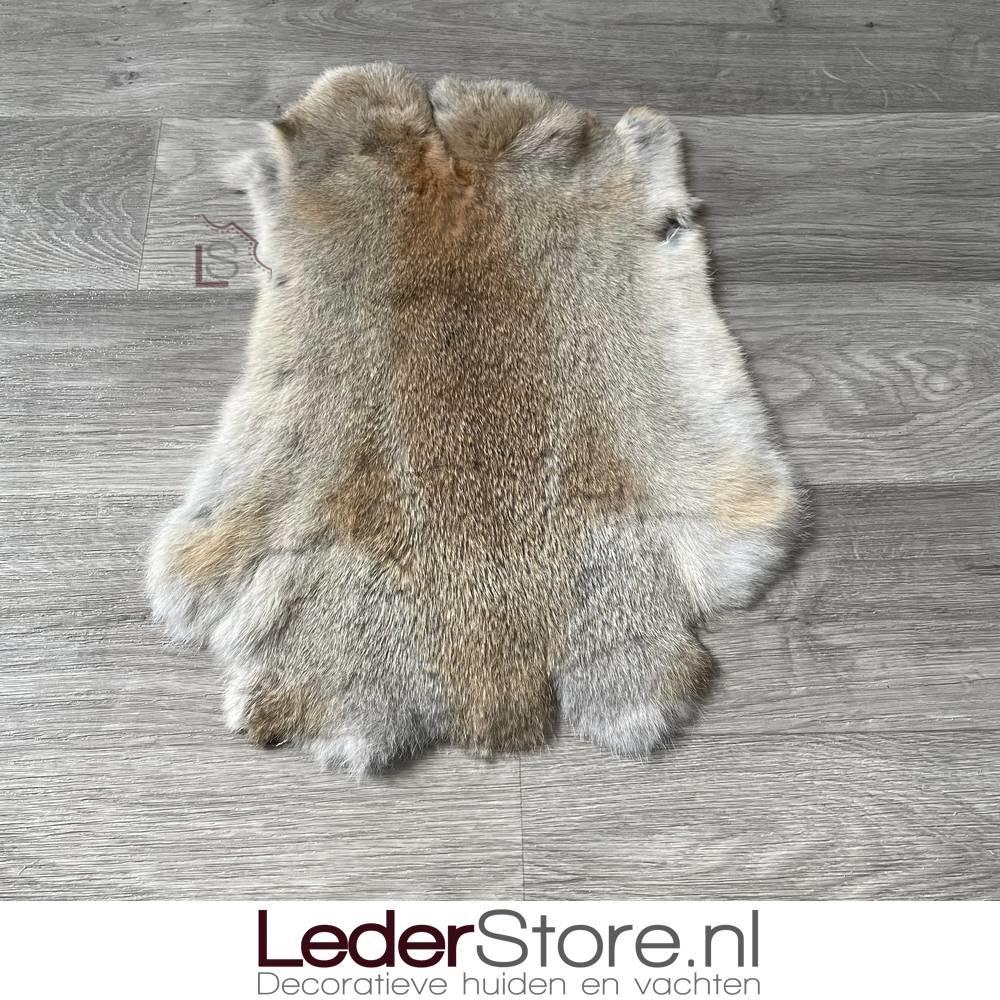 Rabbit skin grey brown 45x35cm