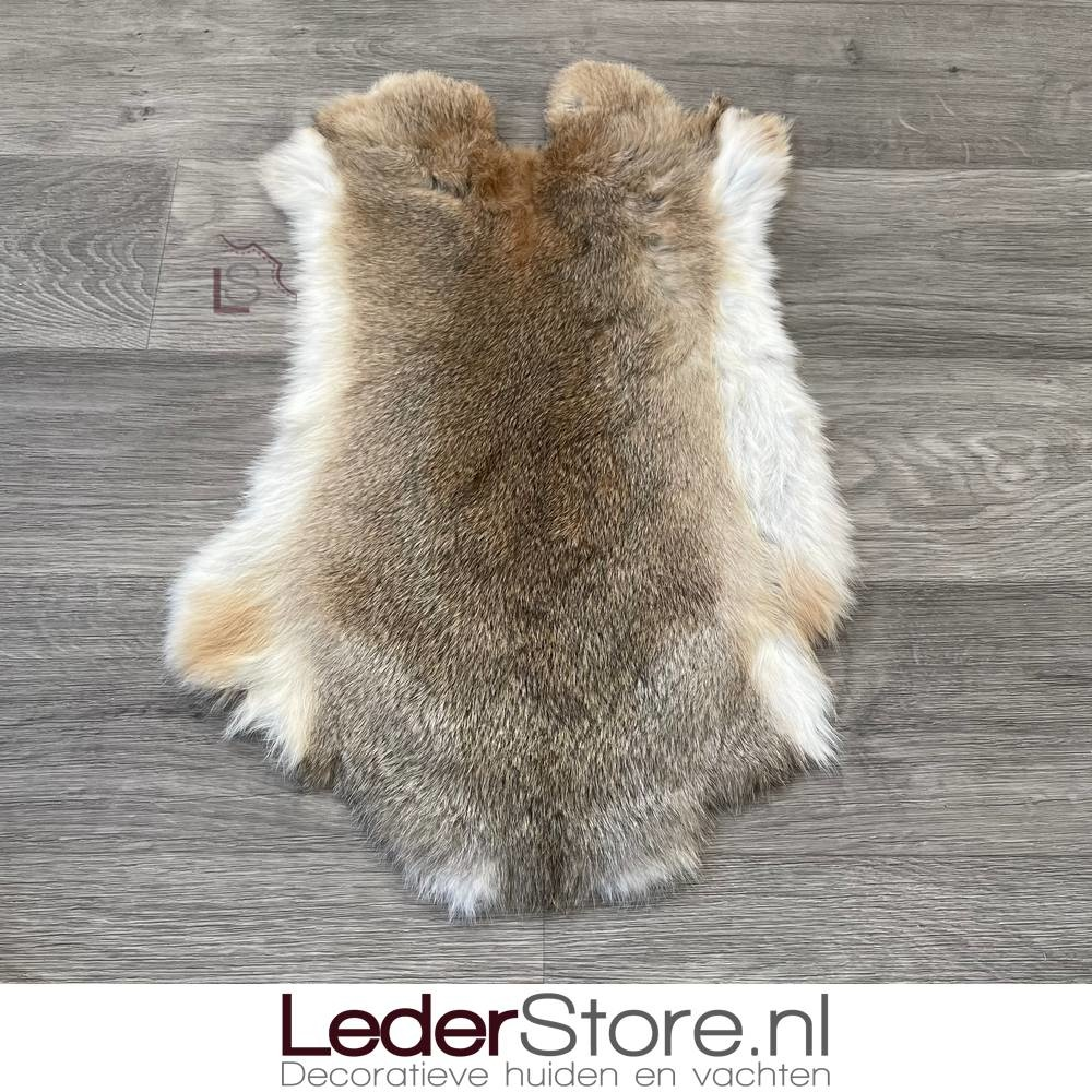 Rabbit skin grey brown white 50x35cm