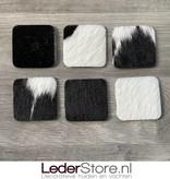 Koeienhuid onderzetters zwart wit 10x10cm