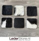 Cowhide coasters black white 10x10cm