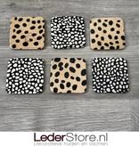 Cowhide coasters cheetah print 10x10cm