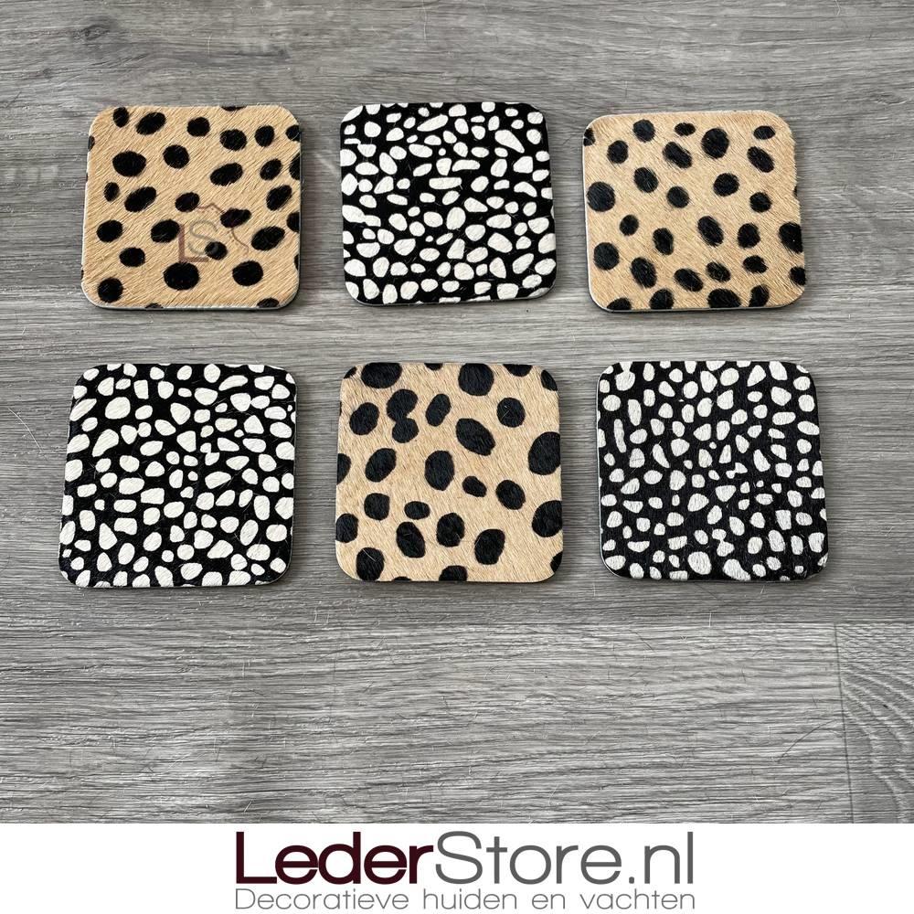 Koeienhuid onderzetters cheetah print 10x10cm