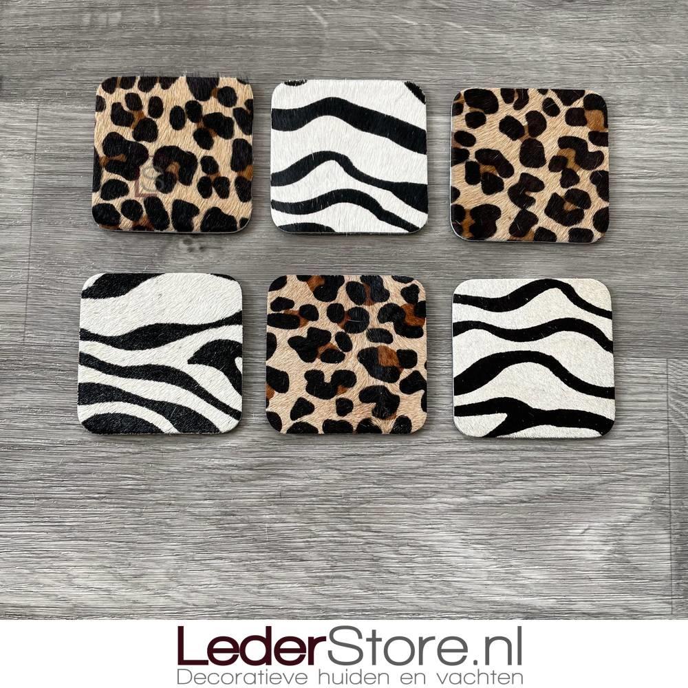 Cowhide coasters leopard print 10x10cm