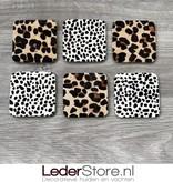 Koeienhuid onderzetters luipaard print 10x10cm