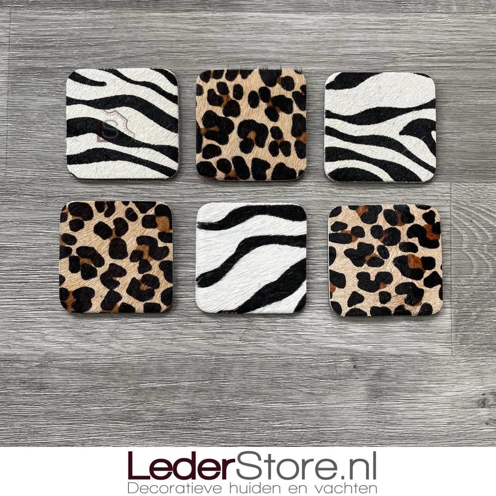 Cowhide coasters zebra print 10x10cm
