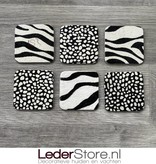Koeienhuid onderzetters zebra print 10x10cm