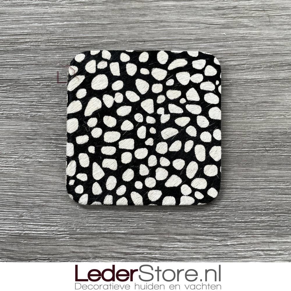 Cowhide coasters dalmatian reversed big dots 10x10cm
