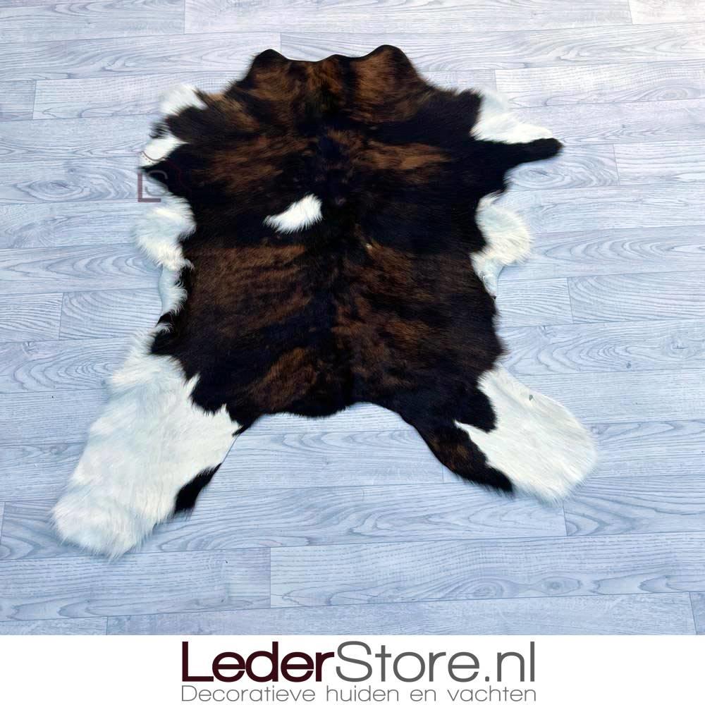Calfhide rug brown black white 105x95cm