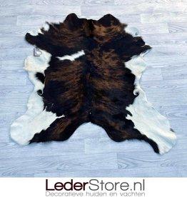 Calfhide rug brown black white 110x100cm