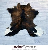 Calfhide rug brown black white 100x95cm