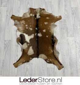 Goatskin rug brown black white 85x65cm