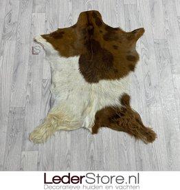 Goatskin rug brown creme 95x75cm