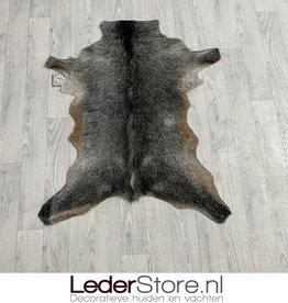 Goatskin rug brown black white 95x75cm