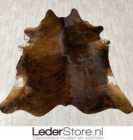 Koeienhuid bruin zwart wit brindle 230x215cm M/L