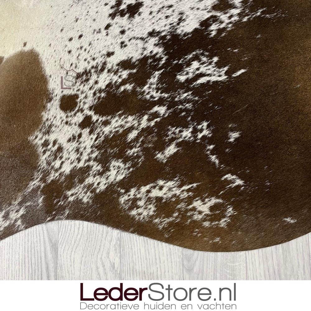 Koeienhuid bruin wit salt n pepper 210x185cm