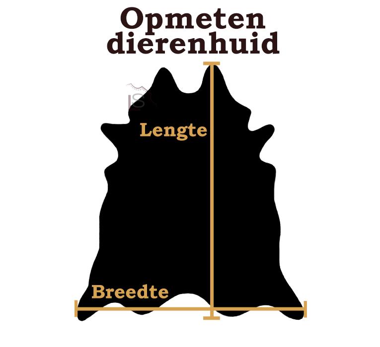 Koeienhuid zwart bruin brindle 220x185cm