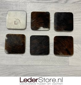 Koeienhuid onderzetters normandier zwart wit bruin 10x10cm