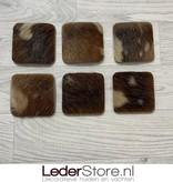 Geitenhuid onderzetters bruin beige 10x10cm