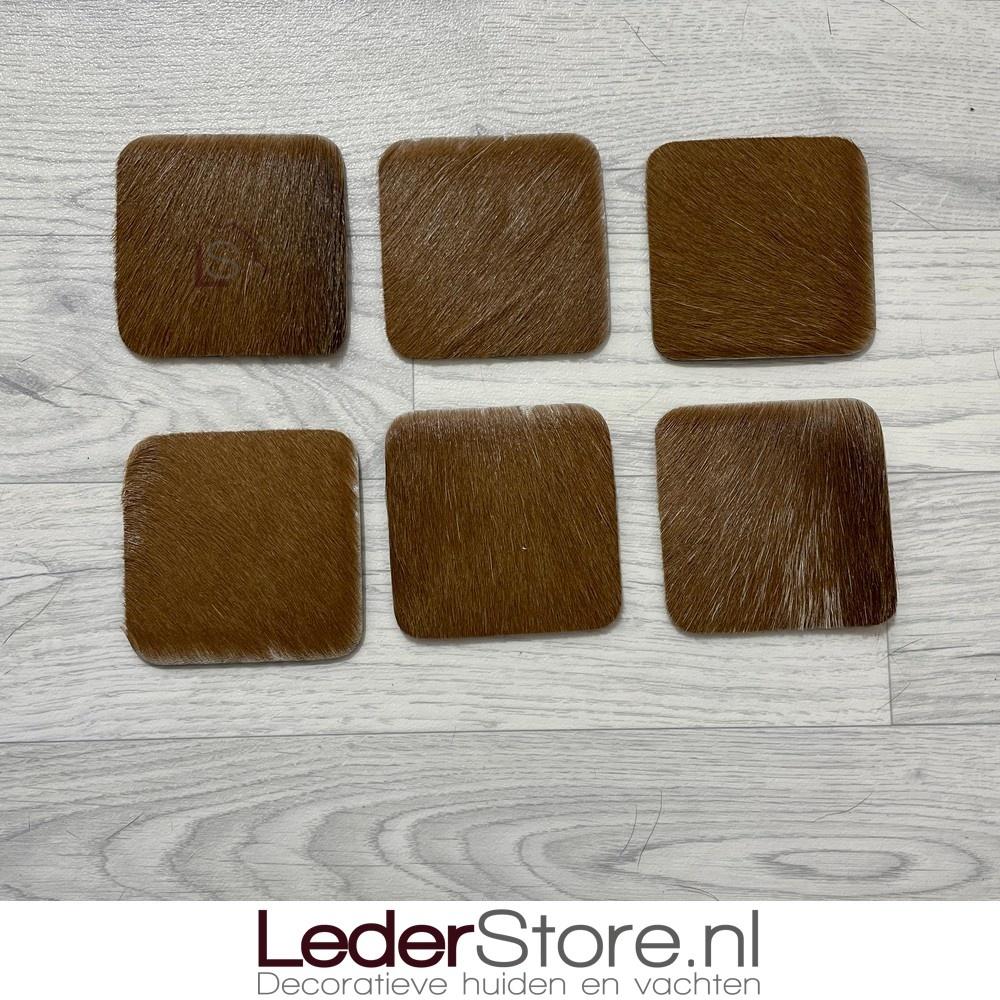 Geitenhuid onderzetters bruin wit 10x10cm
