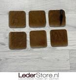 Geitenhuid onderzetters bruin zwart 10x10cm