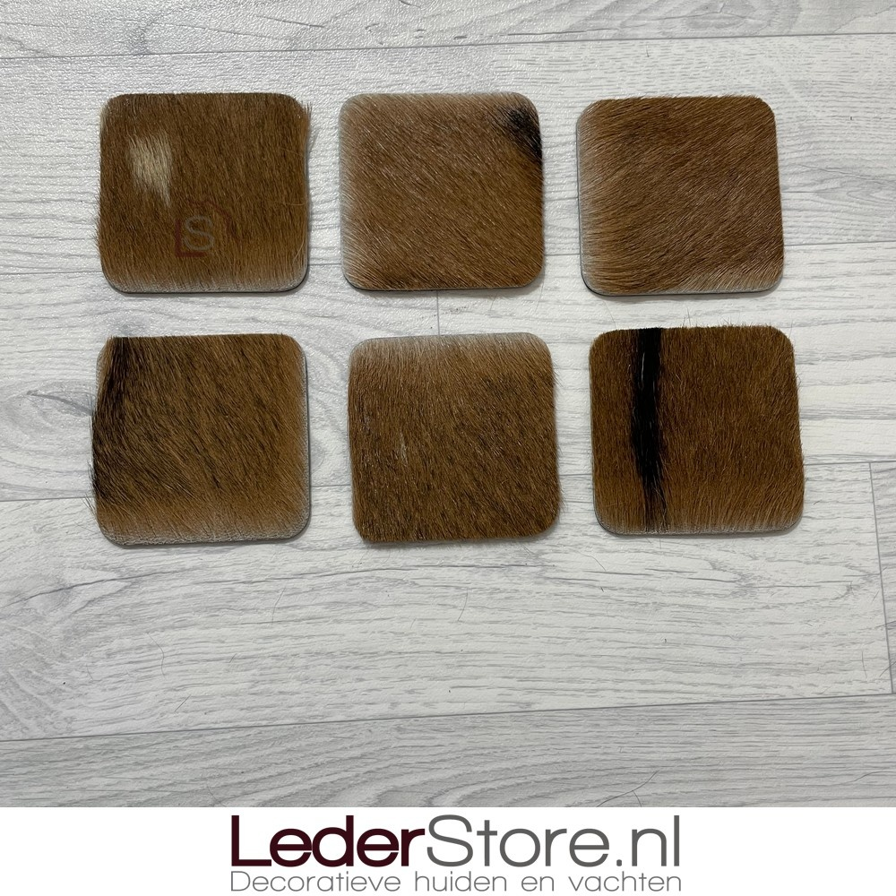 Geitenhuid onderzetters bruin zwart beige 10x10cm