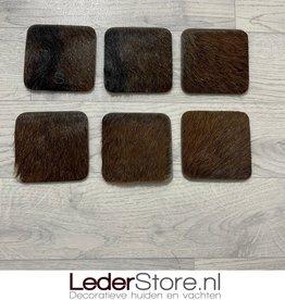 Goatskin coasters brown black 10x10cm