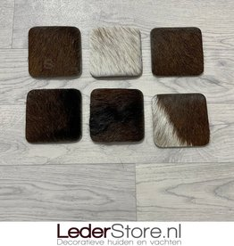 Goatskin coasters brown black white 10x10cm