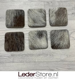 Goatskin coasters brown creme black 10x10cm