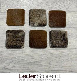 Goatskin coasters brown black beige 10x10cm