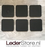 Geitenhuid onderzetters bruin creme zwart 10x10cm