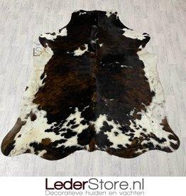 Cowhide rug tricolor black white brown Normandier 230x200cm M/L