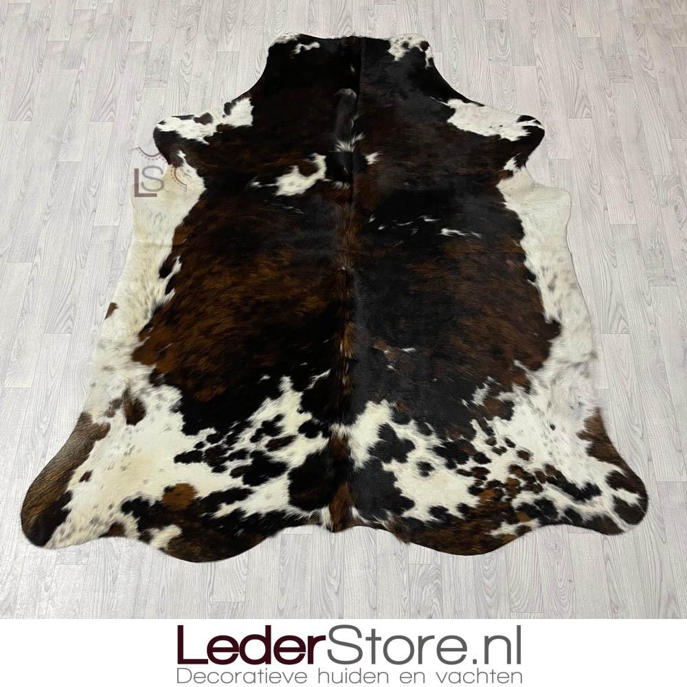 Koeienhuid tricolor zwart wit bruin normandier 230x200cm M/L