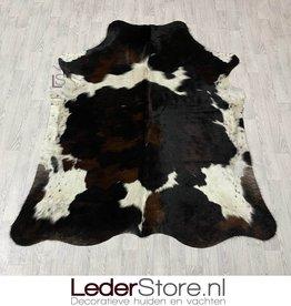Cowhide rug tricolor black white brown Normandier 210x175cm M/L