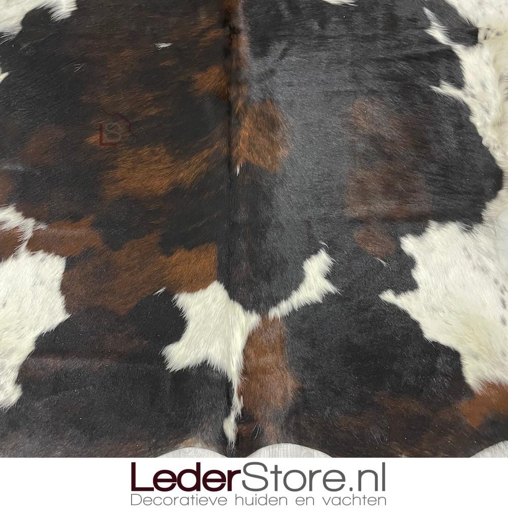 Koeienhuid tricolor zwart wit bruin normandier 210x175cm M/L