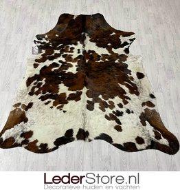 Cowhide rug tricolor black white brown Normandier 220x210cm M/L